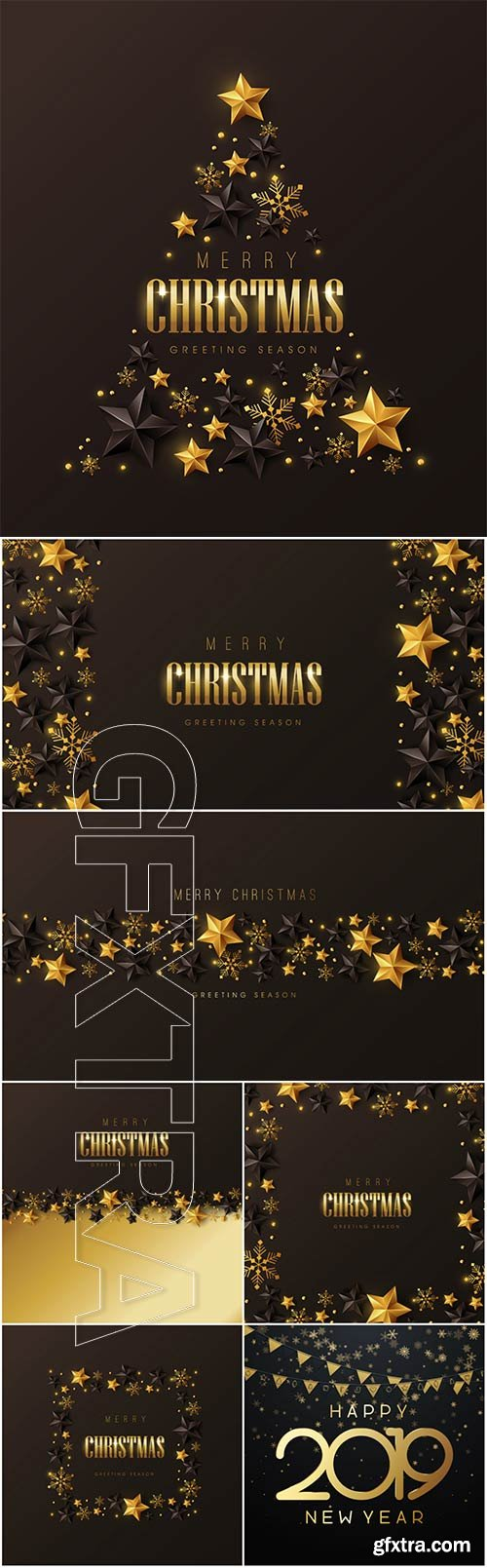 Christmas and New Year vector backgrounds with golden decor