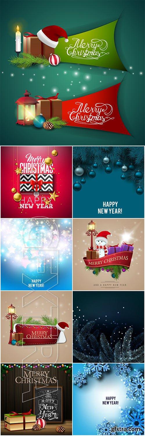 Christmas vector card with xmas symbols