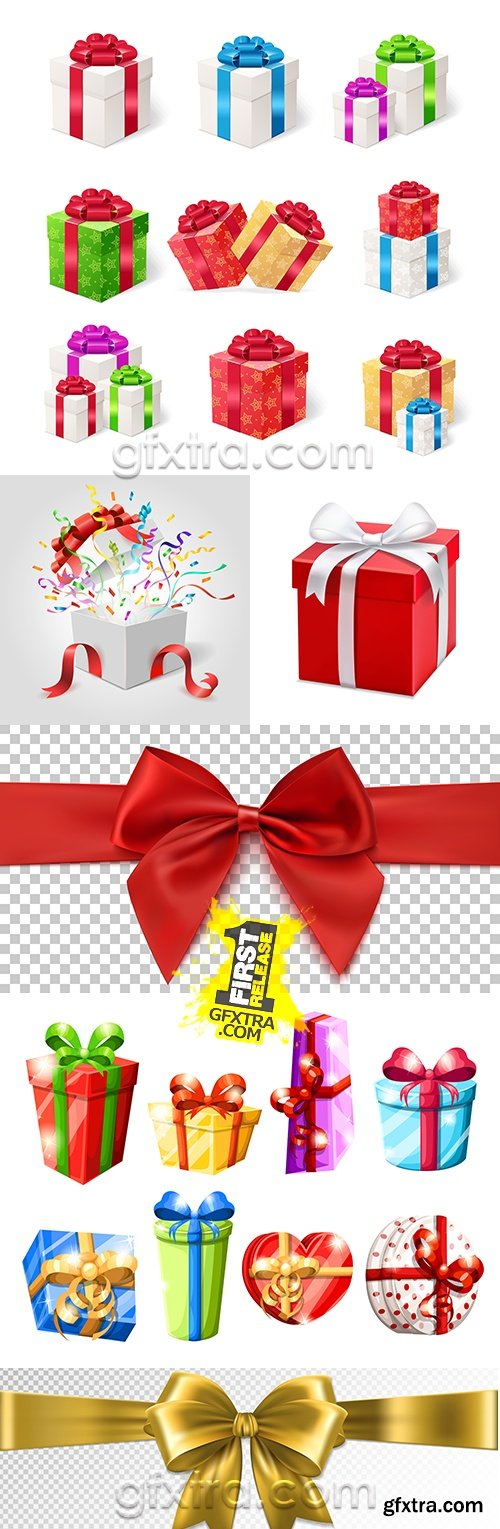 Festive boxes bright decorative bows and feeds collection