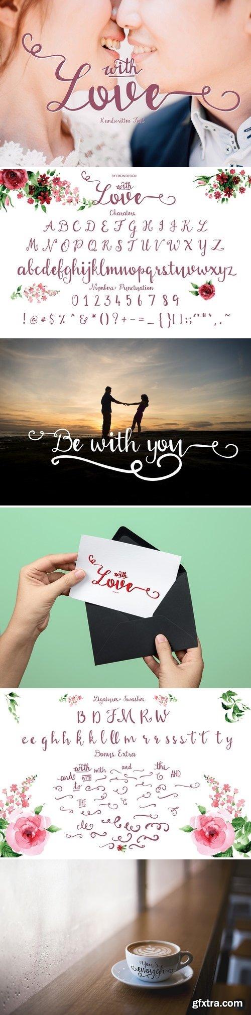 FontBundles - With love Handwritten font 13934