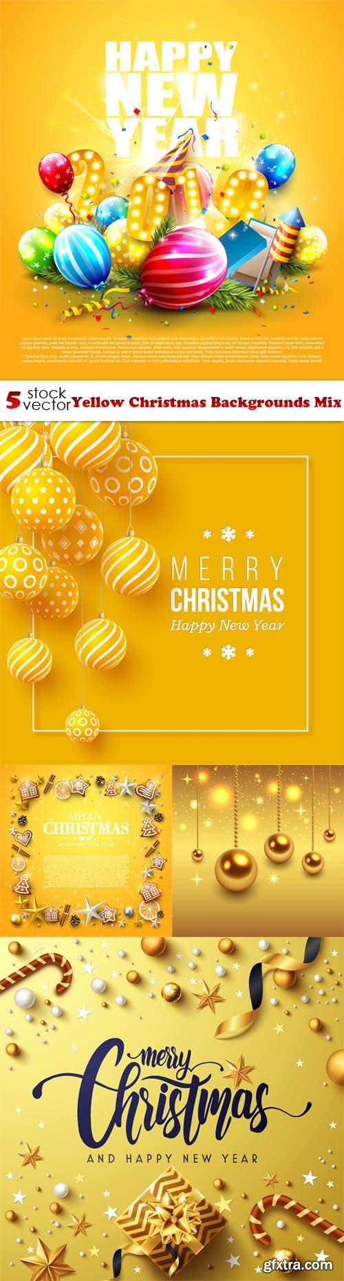 Vectors - Yellow Christmas Backgrounds Mix
