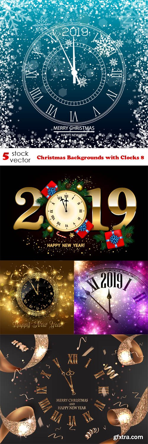 Vectors - Christmas Backgrounds with Clocks 8