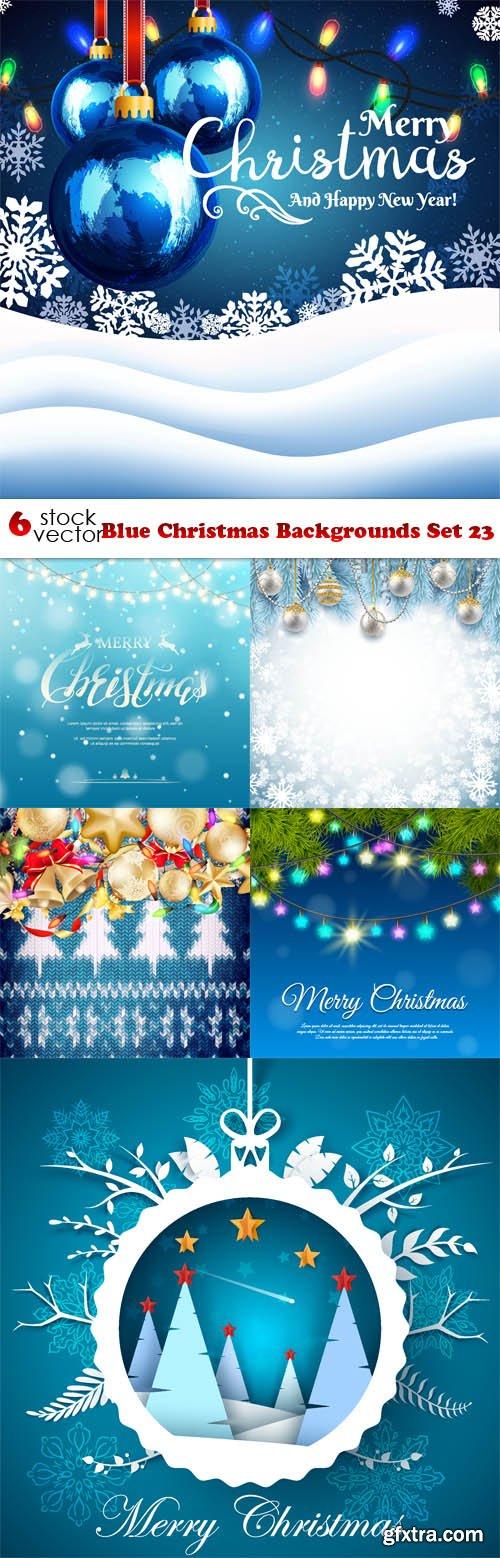 Vectors - Blue Christmas Backgrounds Set 23
