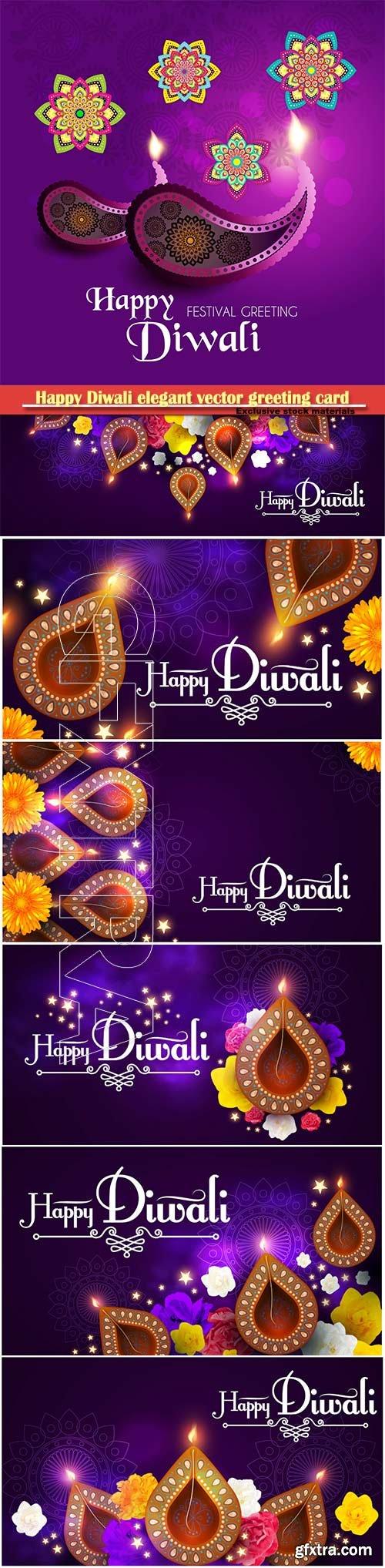 Happy Diwali elegant vector greeting card design