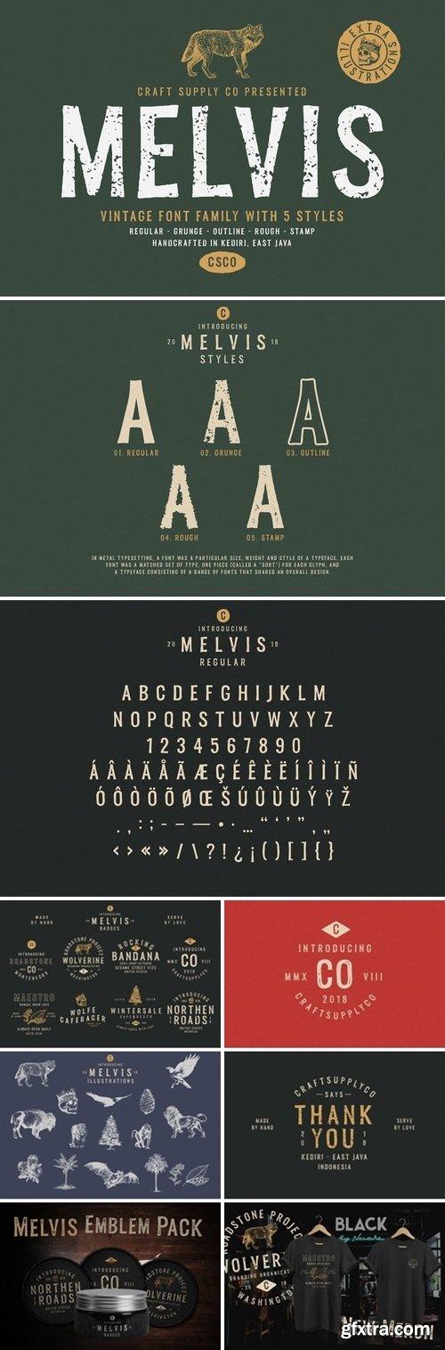 CM - Melvis - Vintage Font Family+Extras 3152404