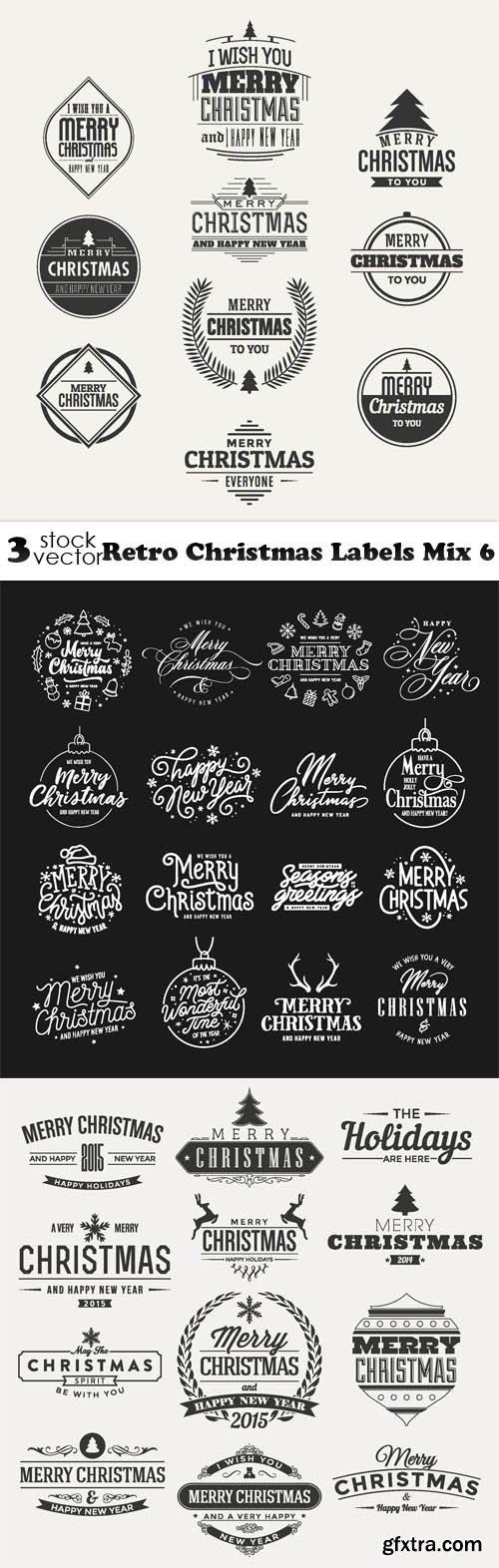 Vectors - Retro Christmas Labels Mix 6