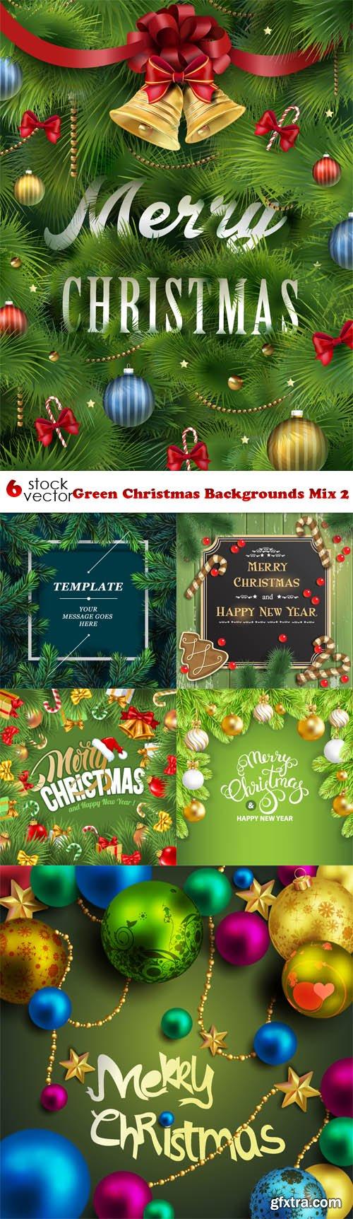 Vectors - Green Christmas Backgrounds Mix 2