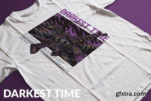 Darkest Time T-Shirt Design Template