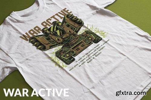 War Active T-Shirt Design Template