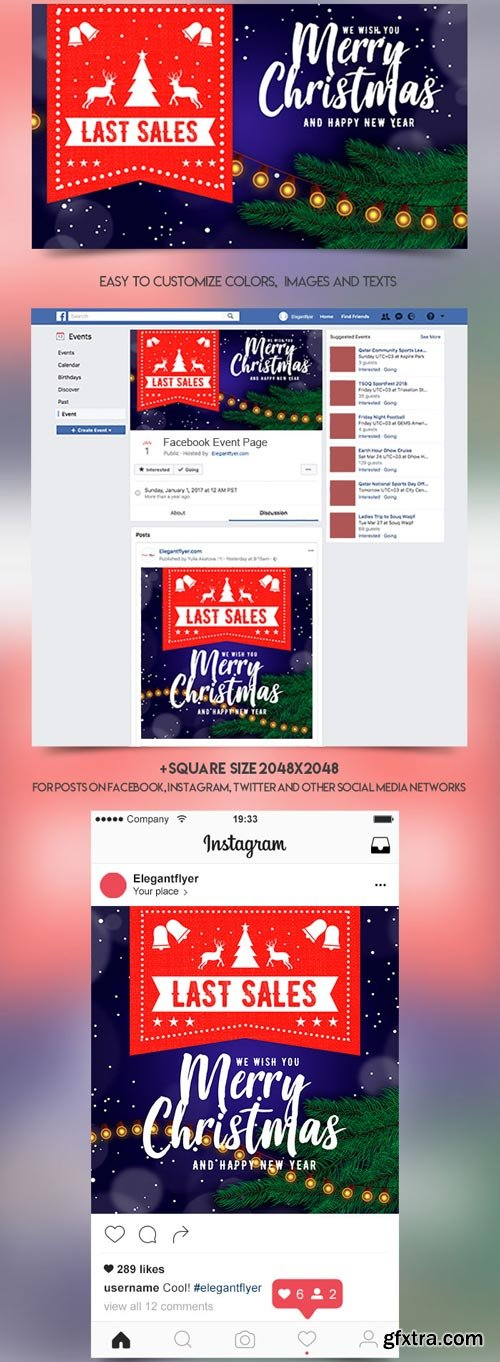 Christmas Sale V3 2018 Facebook Event + Instagram Template + YouTube Channel Banner