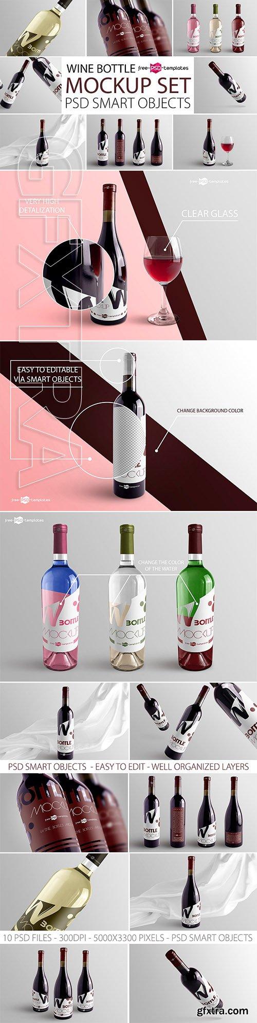 CreativeMarket - Wine Bottle Mockup Set 3130526