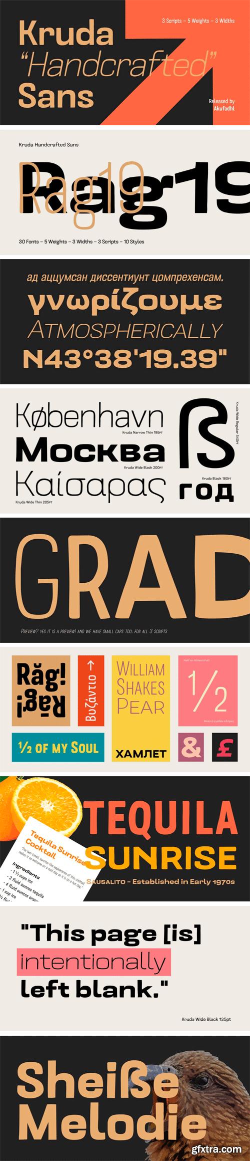 Kruda Handcrafted Sans Font Family