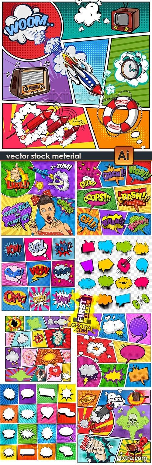 Pop art comic banner bubble cartoon cloud collection 3