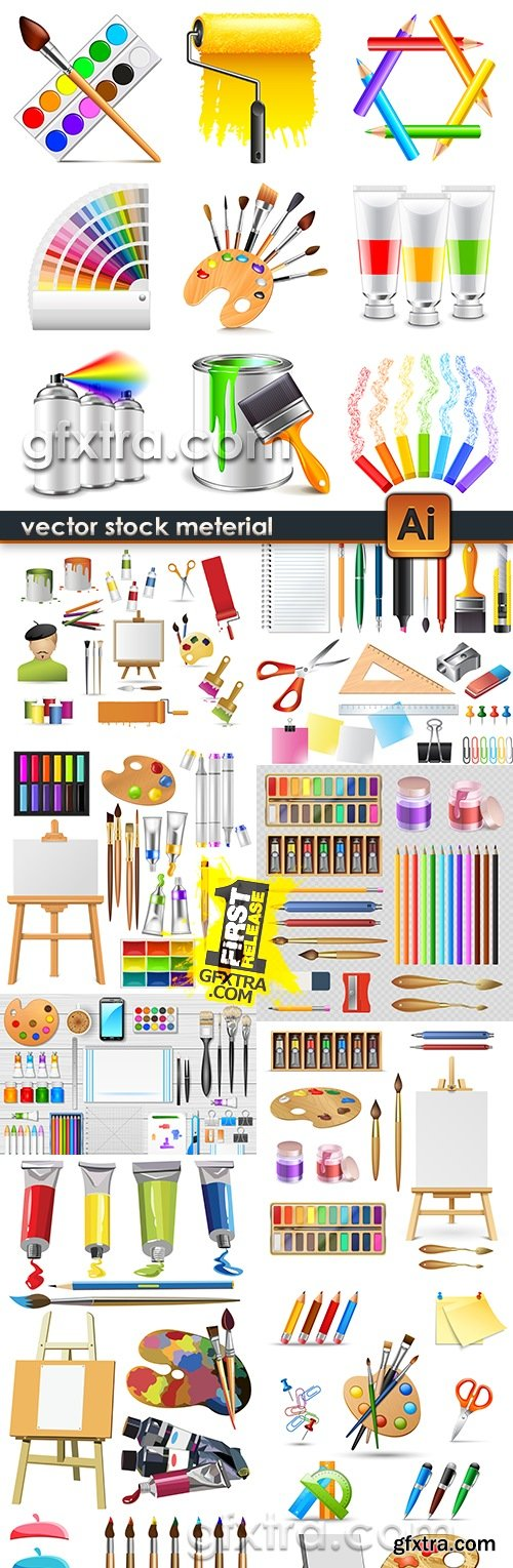 Colors of paintbrush and easel set of young artist