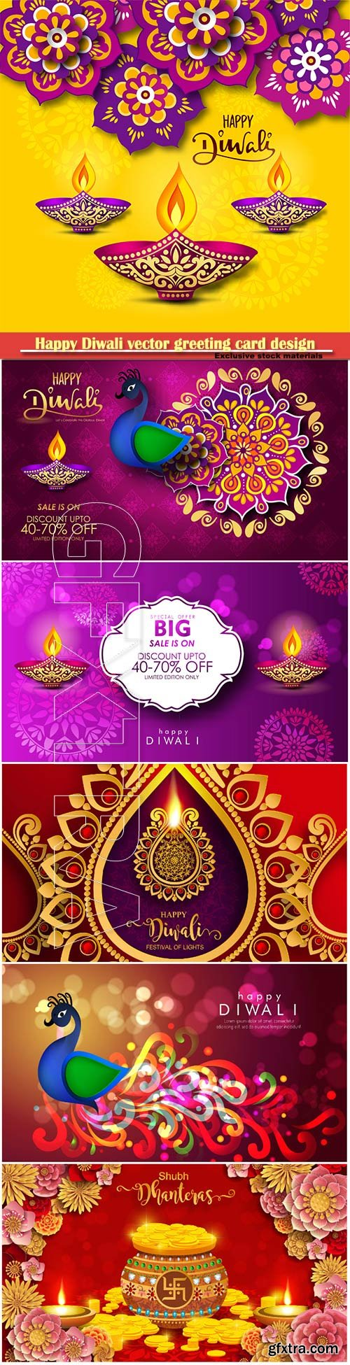 Happy Diwali vector greeting card design