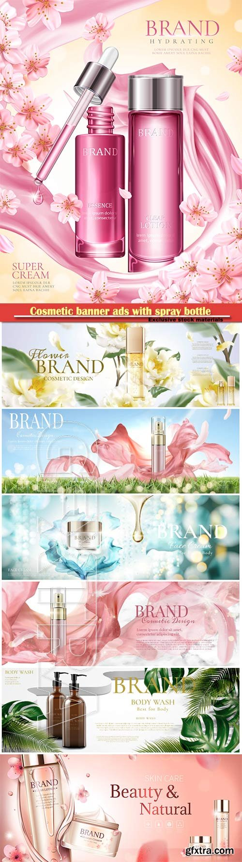 Cosmetic banner ads with spray bottle in 3d illustration vector illustration