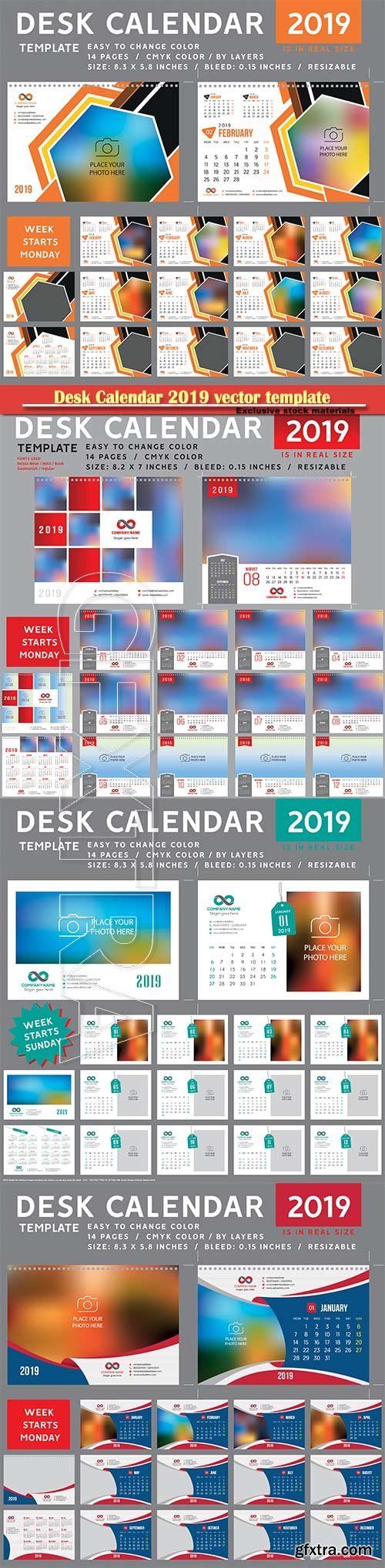 Desk Calendar 2019 vector template, 12 months included # 5