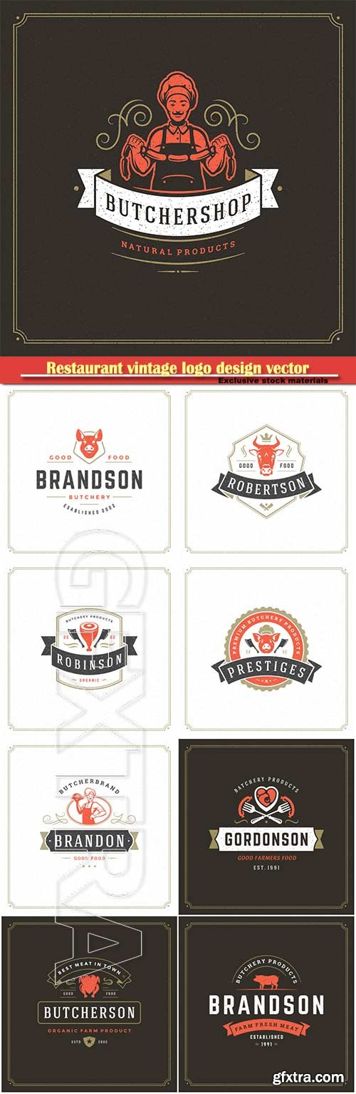 Restaurant vintage logo design vector illustration