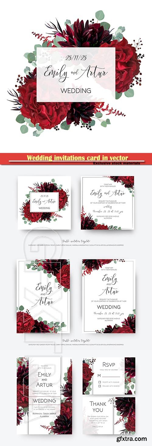 Wedding invitations card in vector