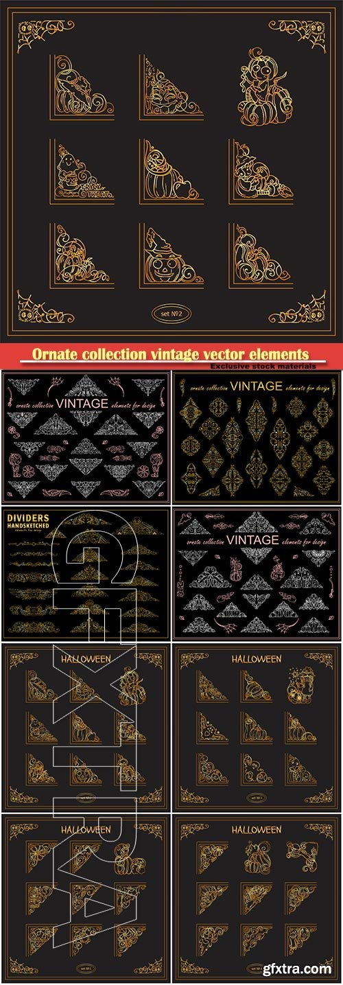Ornate collection vintage vector elements for design