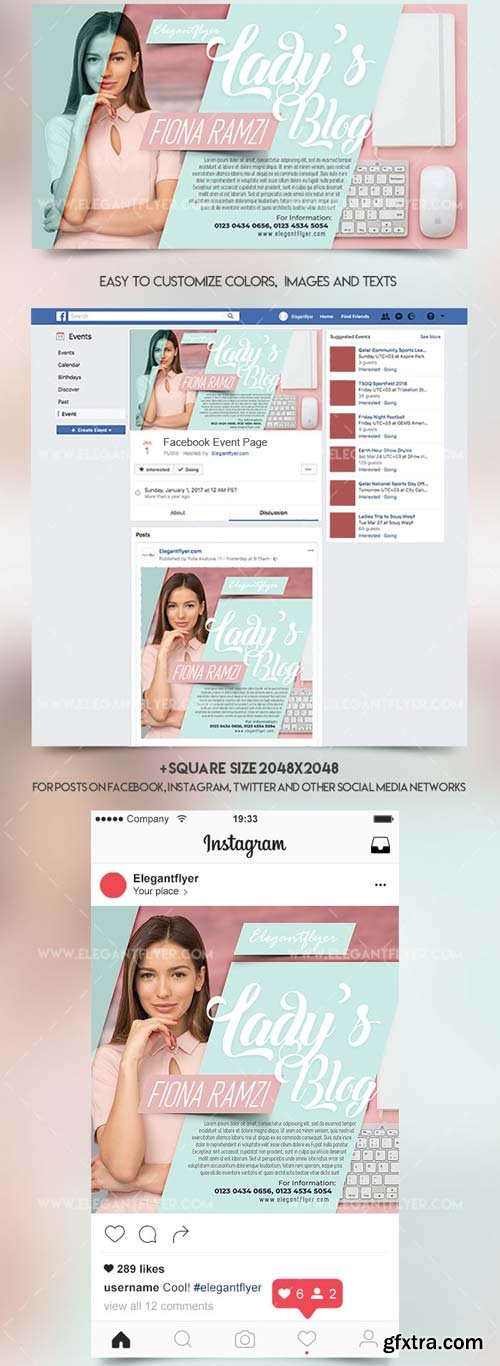 Lady's Blog V1 2018 Facebook Event + Instagram Template + YouTube Channel
