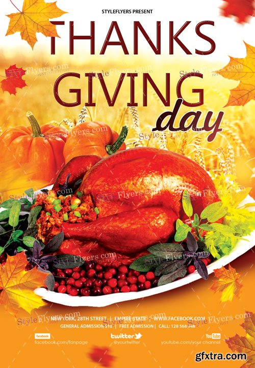 Thanksgiving Day V41 2018 PSD Flyer Template