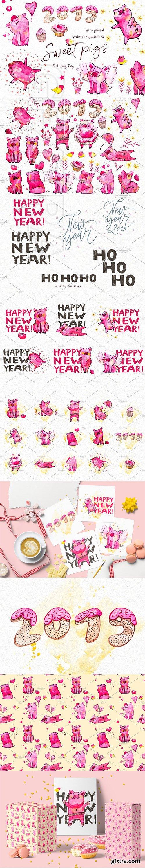 CreativeMarket - Sweet pigs 2019 3094722
