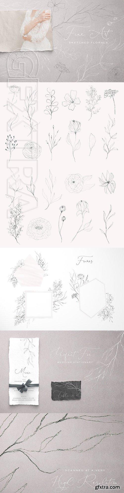 CreativeMarket - Fine Art Sketched Florals 3156472