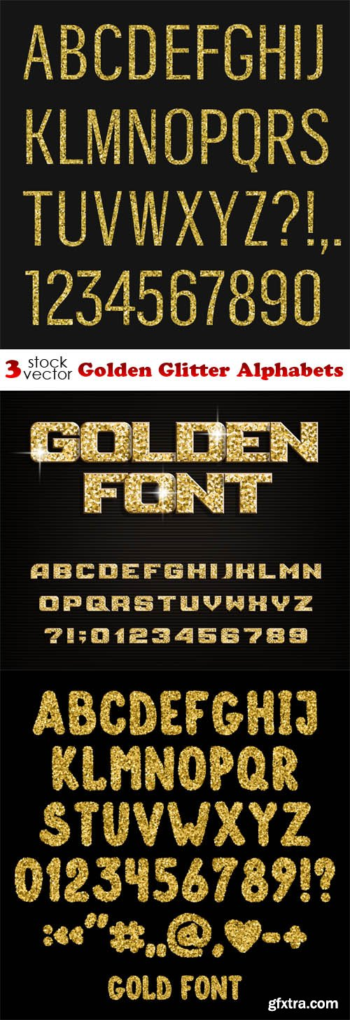 Vectors - Golden Glitter Alphabets