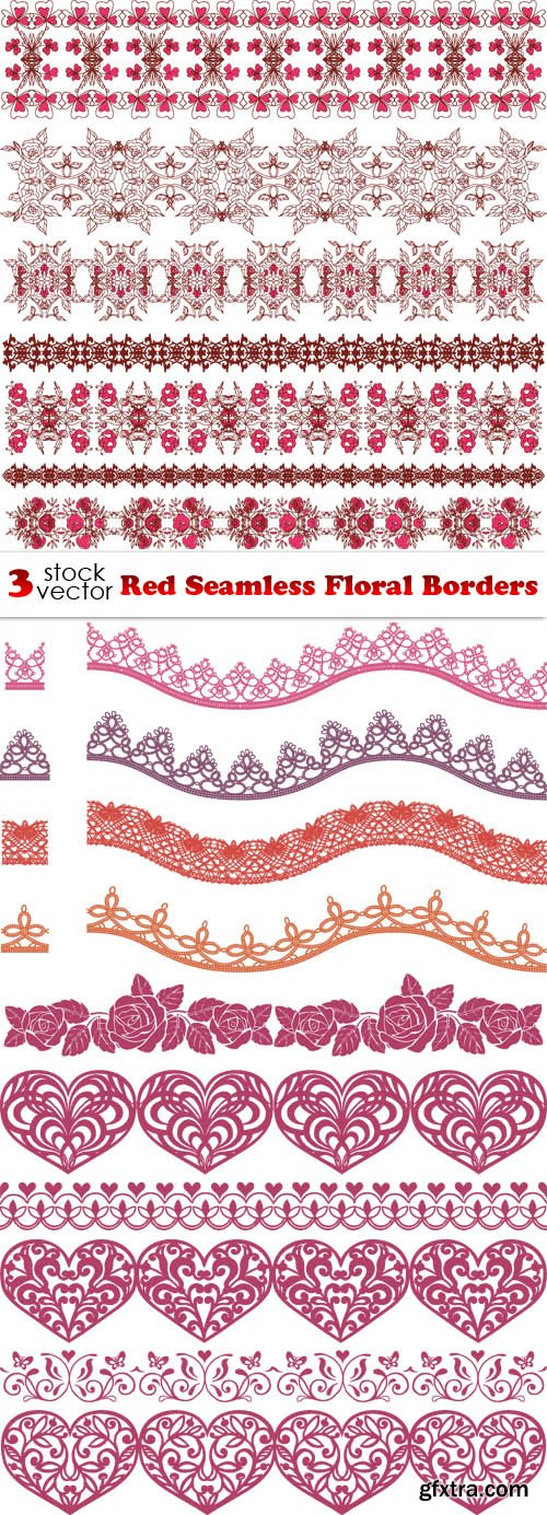 Vectors - Red Seamless Floral Borders