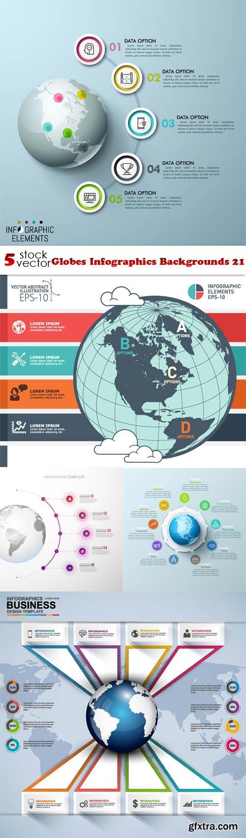 Vectors - Globes Infographics Backgrounds 21