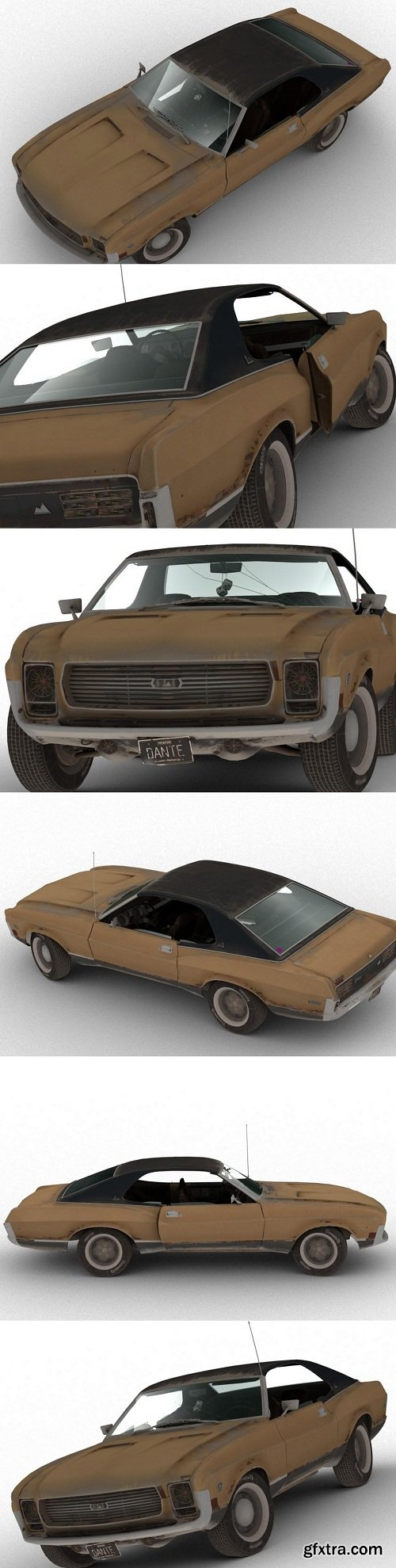 PUBG Rusty Old Car Low Poly 3D Model