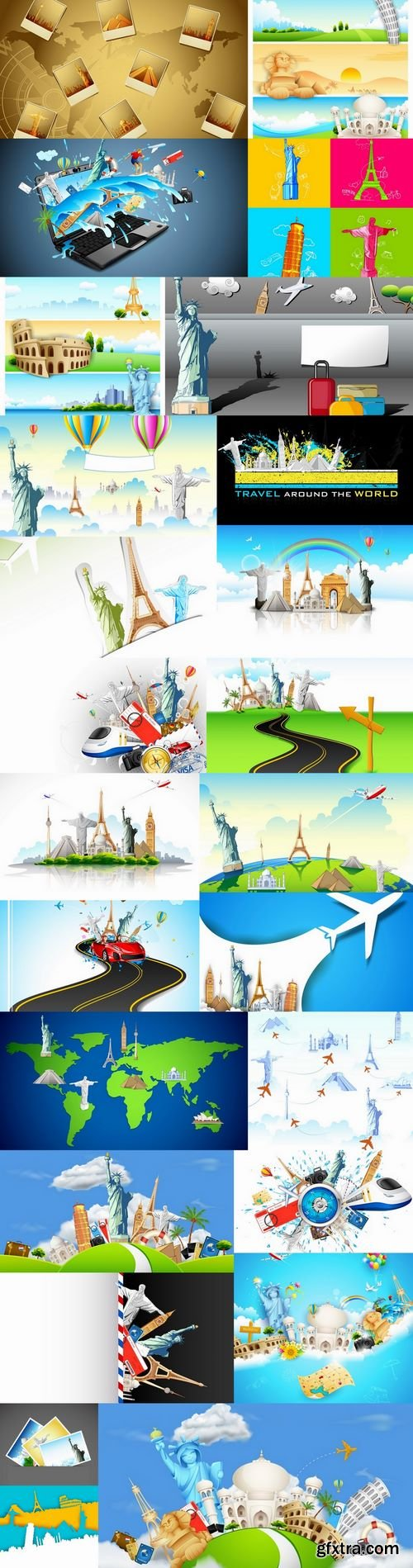 Travel vacation point of interest flyer banner vector image 25 EPS