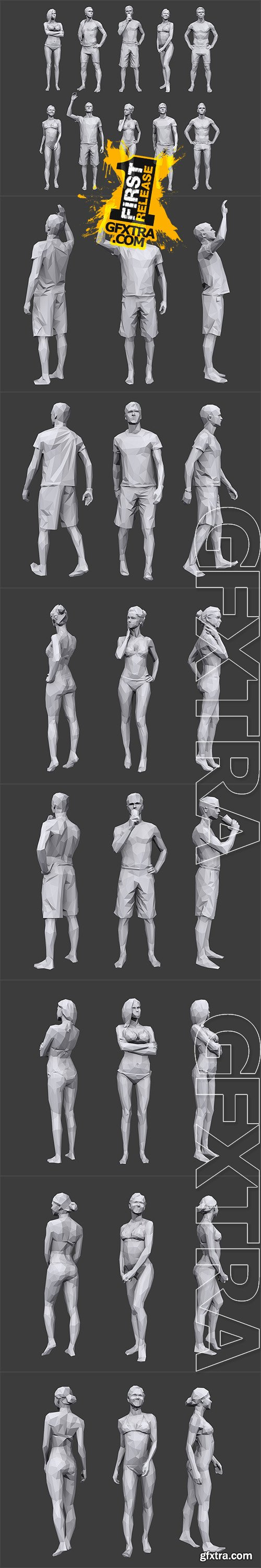Cubebrush - Lowpoly People Vacation Pack