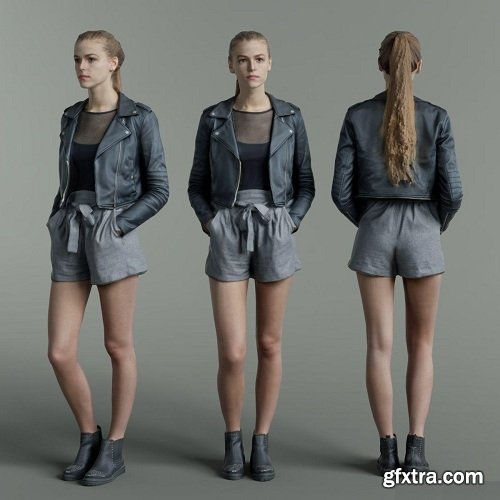 Ponytail Girl In Black Leather jacket and Grey Short Scanned 3D Model