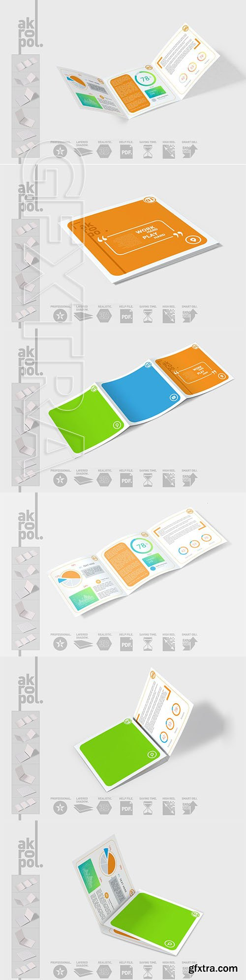 CreativeMarket - Square Trifold Brochure Mock-up 3054995