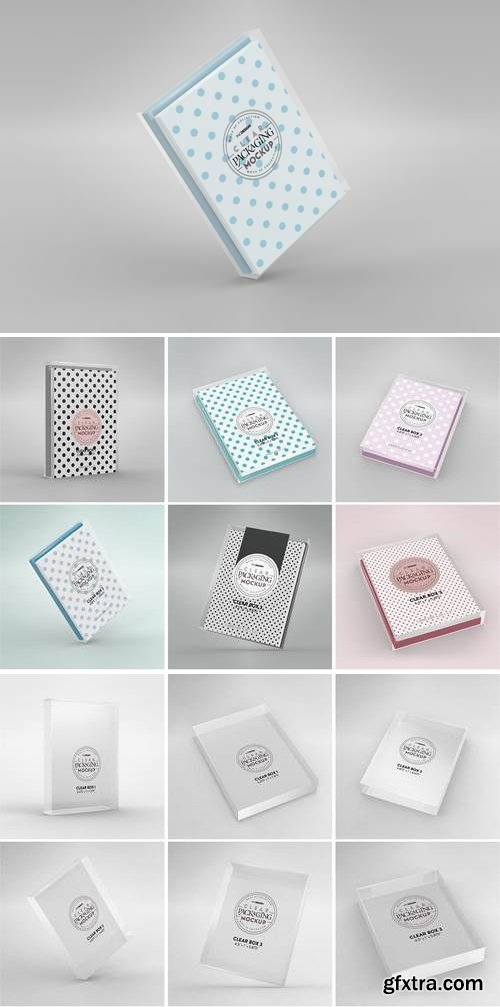 Clear Box Set with Stationery Packaging Mockup