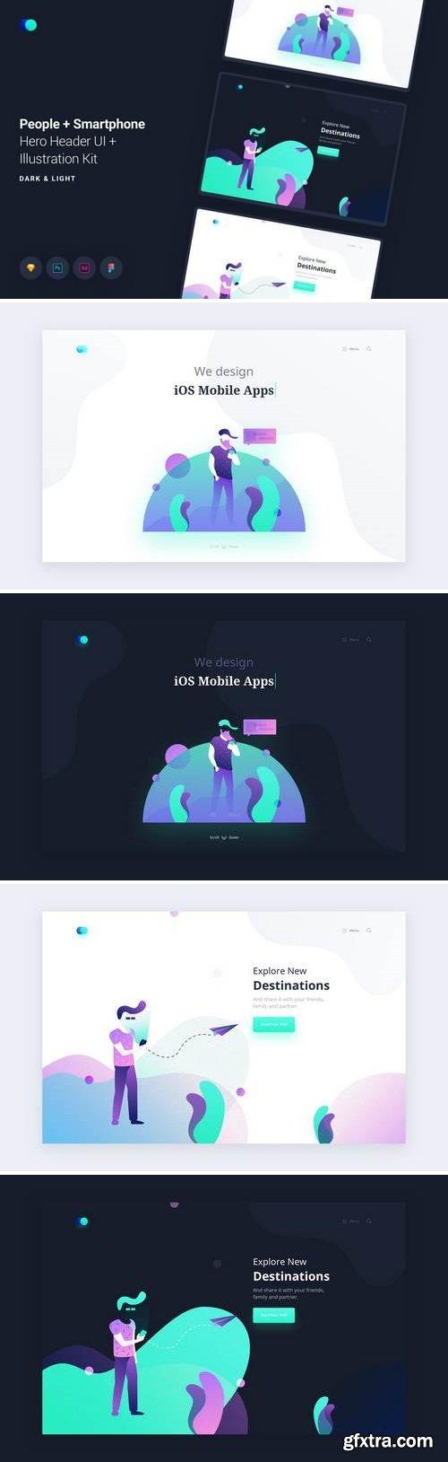 People Smartphone Web Header Illustrations Kit