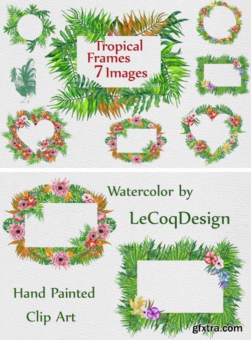 Watercolor Tropic Frames Clipart