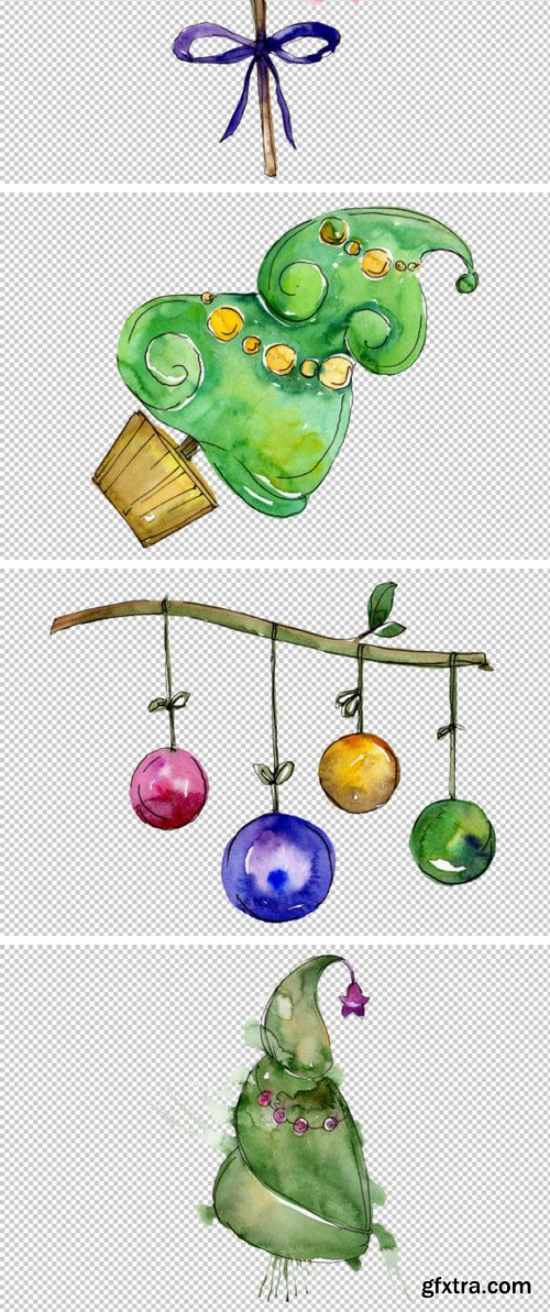 New Year Decoration PNG Watercolor Set