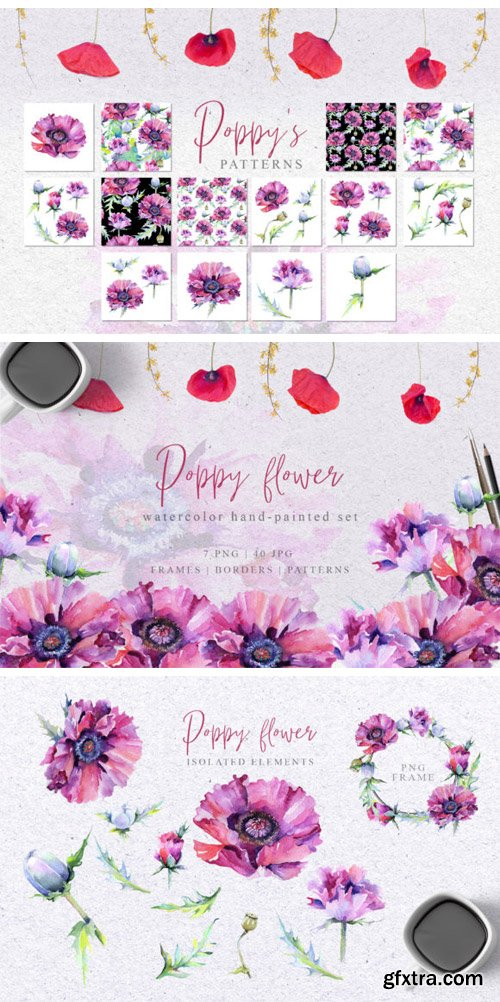 Pink Poppy Flower PNG Watercolor Set