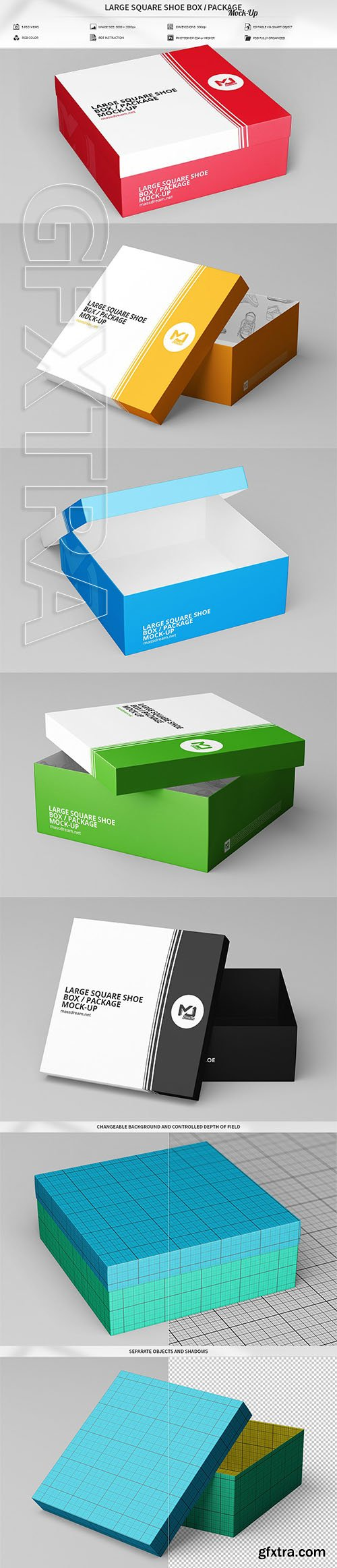 CreativeMarket - Large Square Shoe Box Package Mock 2998824