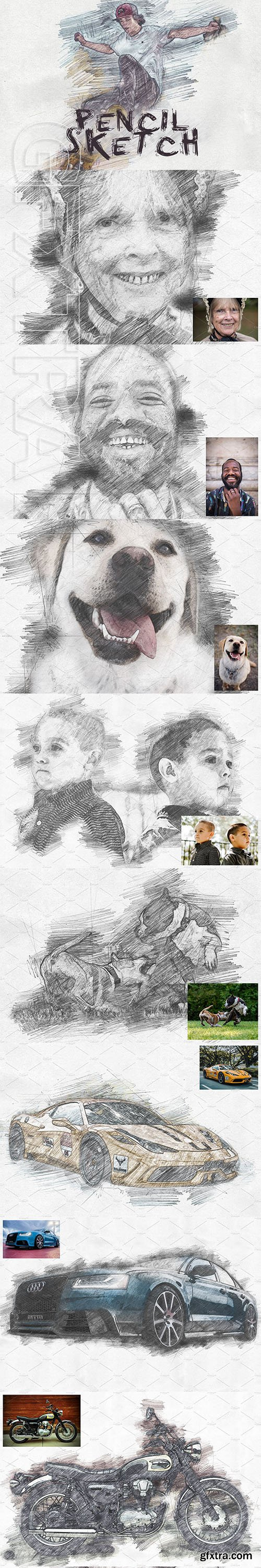 CreativeMarket - Pencil Sketch Photoshop Action 3131294