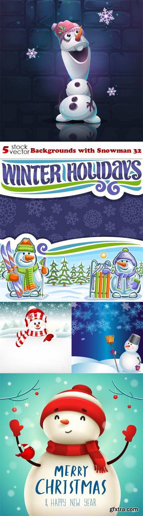 Vectors - Backgrounds with Snowman 32