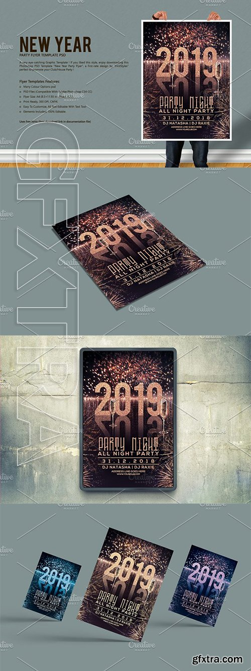 CreativeMarket - New Year Party Flyer 3091008