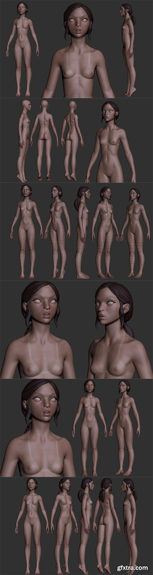 Cubebrush - Petite Woman high poly and base