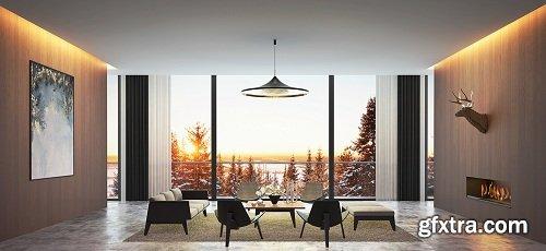 Living Room & Forest 3d Scene