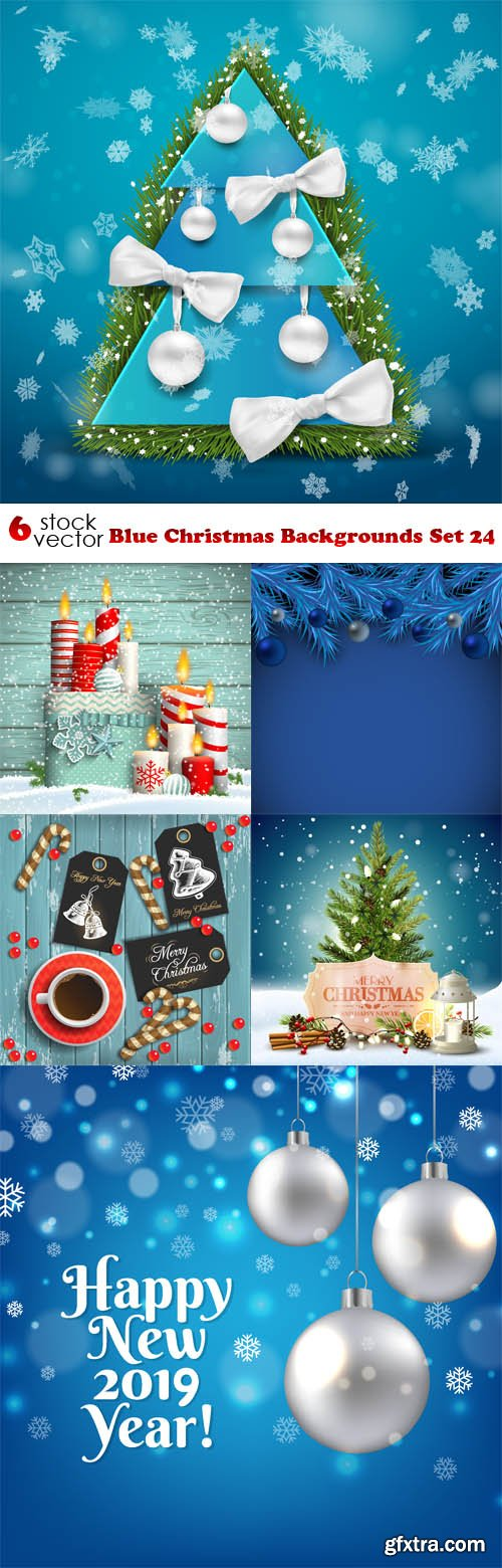 Vectors - Blue Christmas Backgrounds Set 24