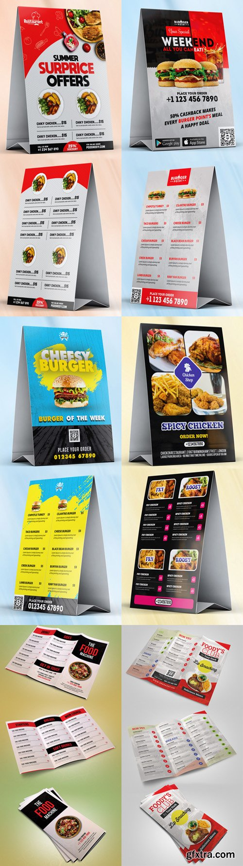 6 Restaurant Food Menu PSD Template Collection