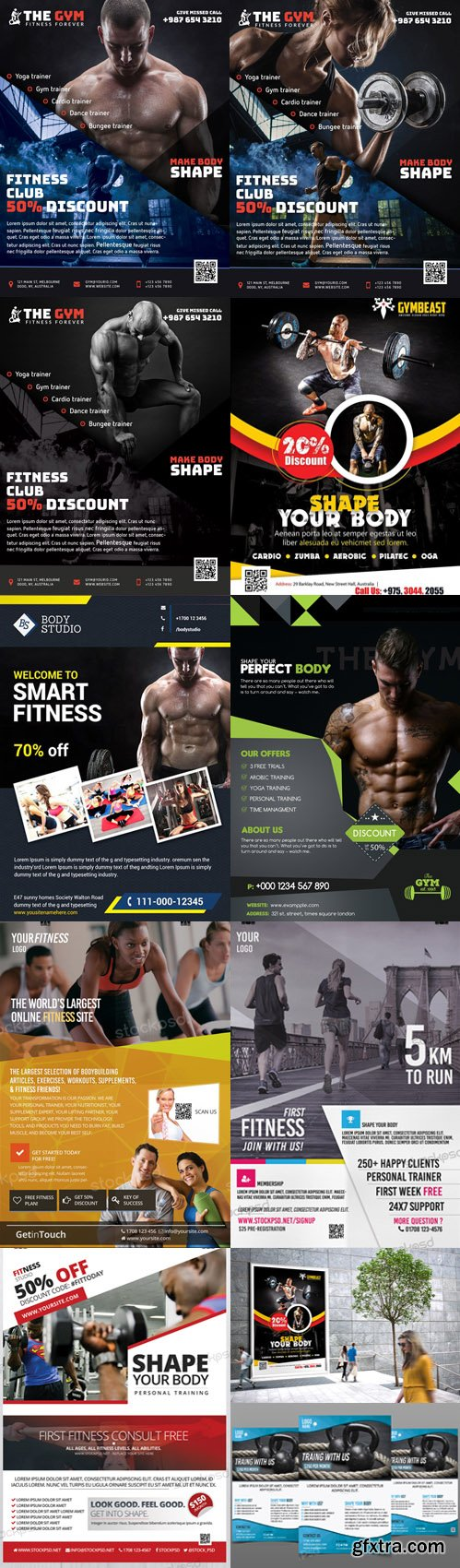 8 Fitness/Gym/Health/Sport PSD Flyer Template Collection